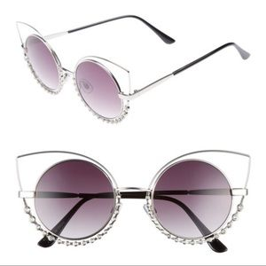 Nordstrom 55Mm Studded Silver Round Sunglasses NWT